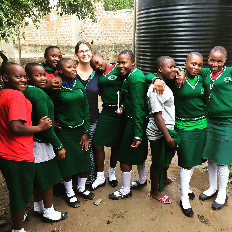 Sara Wentworth with children.