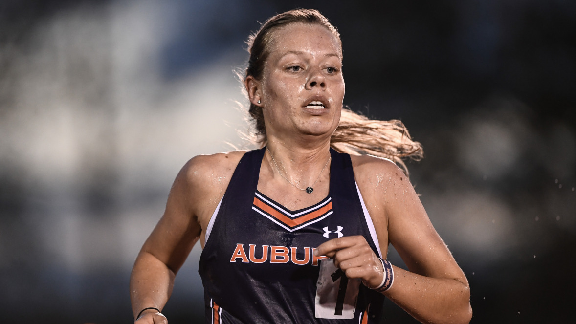 Amy Hansen competing in track and field for Auburn University